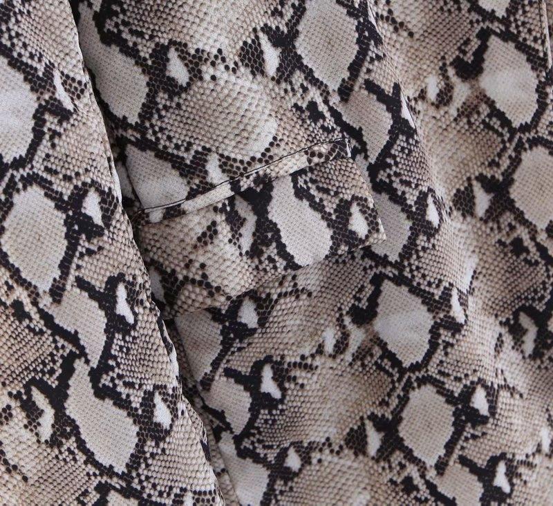 Womens Blazers Long Sleeve Snake Skin Print Long Style Hidden Breasted Ladies Blazers Women Streetwear Outwear S M L (1)
