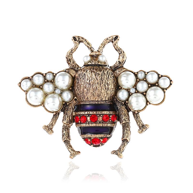 Gold perlas abejas broche pin de lujo abeja prendedor Brooch Bee Stripes