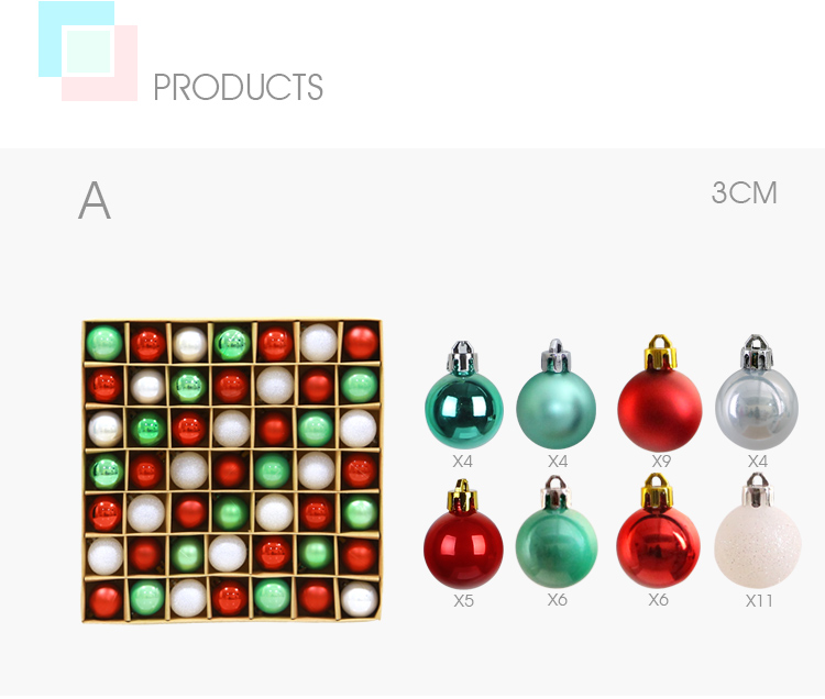 04 inhoo 49pcs Christmas Tree Ornaments Polystyrene Plastic 3cm Decor Balls Baubles Xmas Party Hanging Ball for Home Gifts 2019
