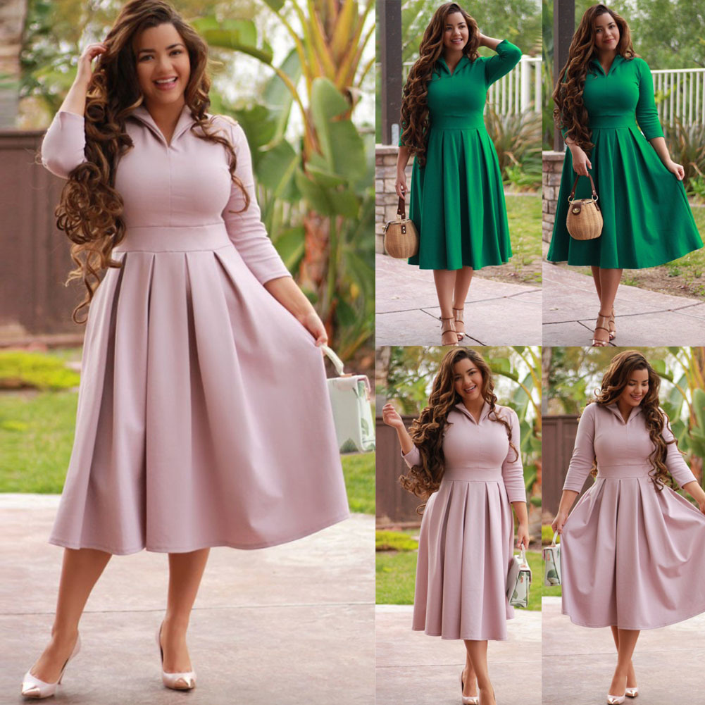 e3df5e2df5be7 Ladies V Neck Evening Party Solid Pink Green Mid Calf Dresses Plus Size  Women Autumn Casual Long Sleeve Holiday Long Maxi Dress Black Dresses  Casual ...