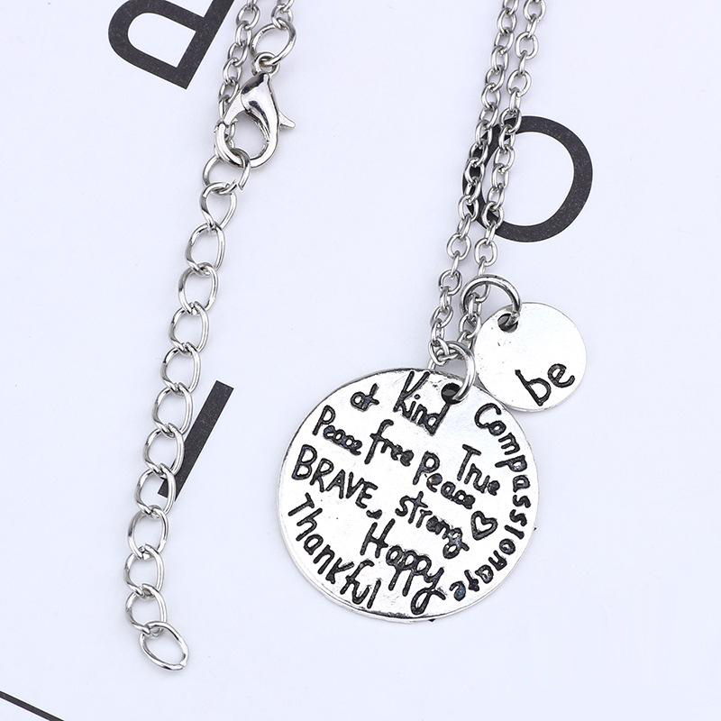 "Hot sell ""Be"" kind wise compassionate true thankful happy Thankfull Charm Pendant Necklaces Fashion Jewelry"