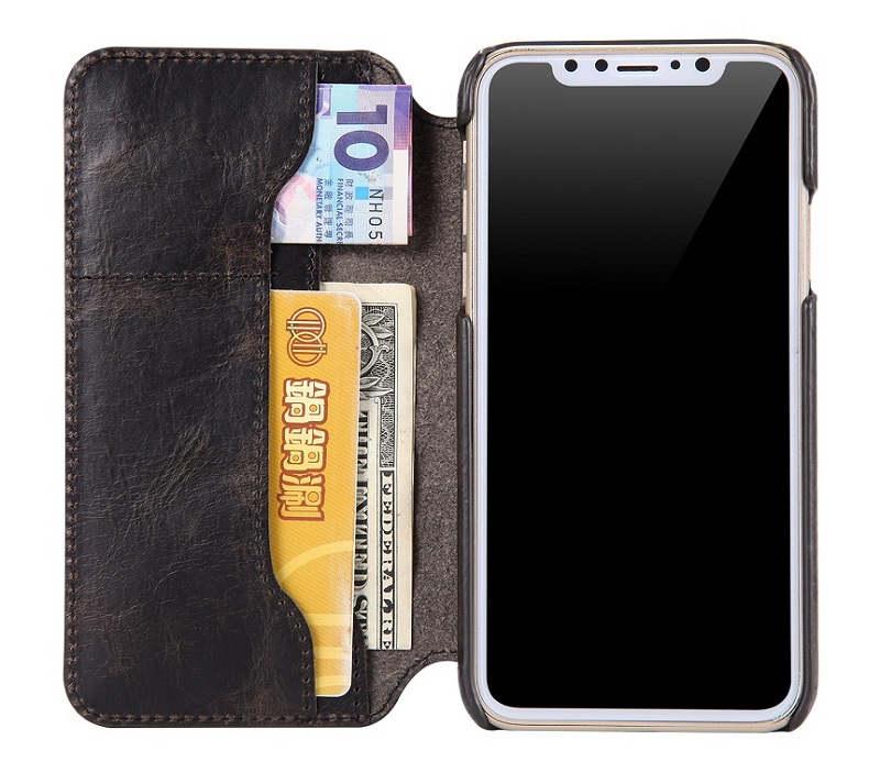 black solque real leather cover case for iPhone x cell phone flip wallet cover