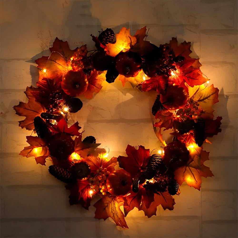 Guirnalda de calabaza de Halloween Cosecha Seda Caída de la puerta frontal Decoración de la puerta delantera con ricos colores de otoño Decoración de Halloween 2O0928
