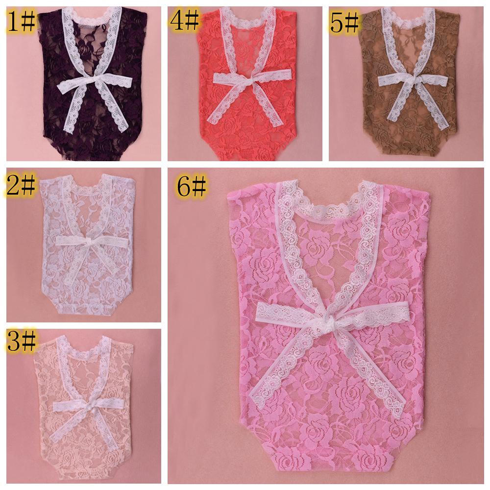 6 styles Newborn photographie accessoires dentelle Romper Infantile bébé Combishort profond V backless costume Floral Romper Bodysuit vêtements FFA886