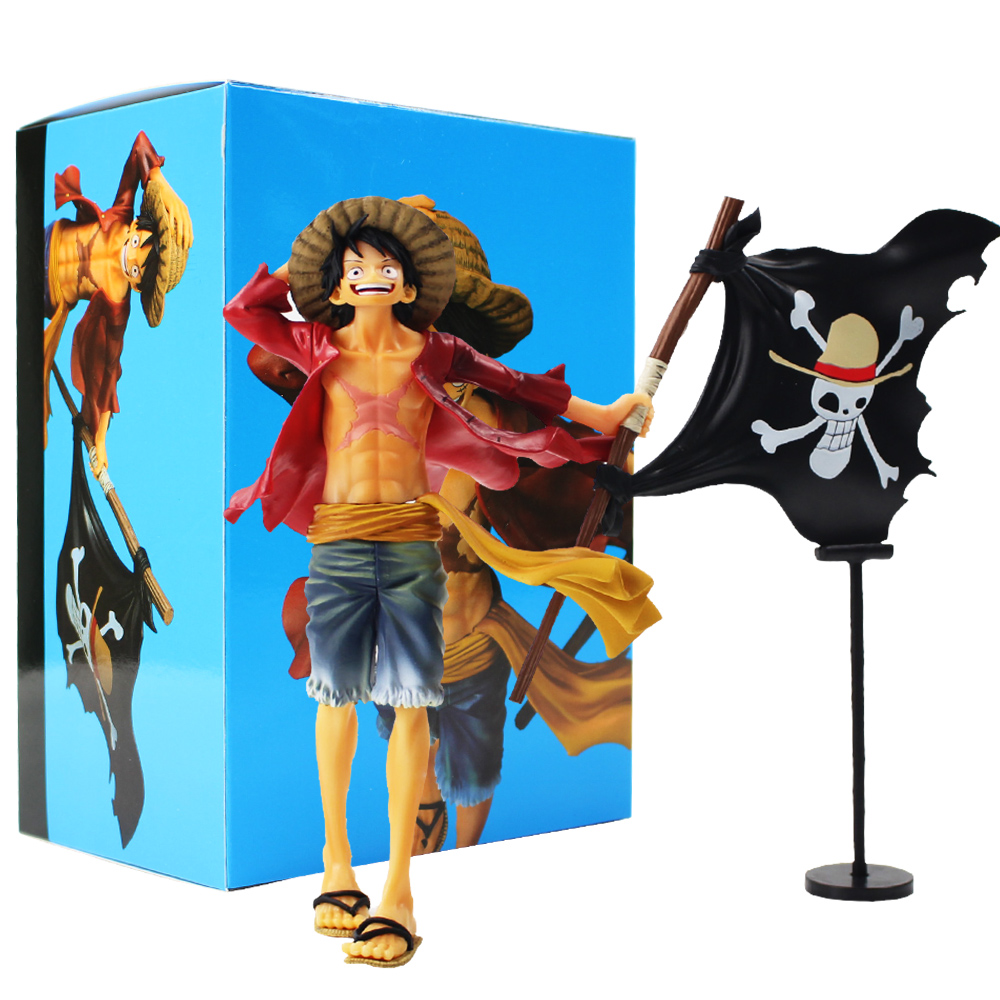 2019 One Piece Figure Toy Monkey D Luffy With Flag Straw Hat Pirates Anime Model Doll From Zhongfugame 22 6 Dhgate Com
