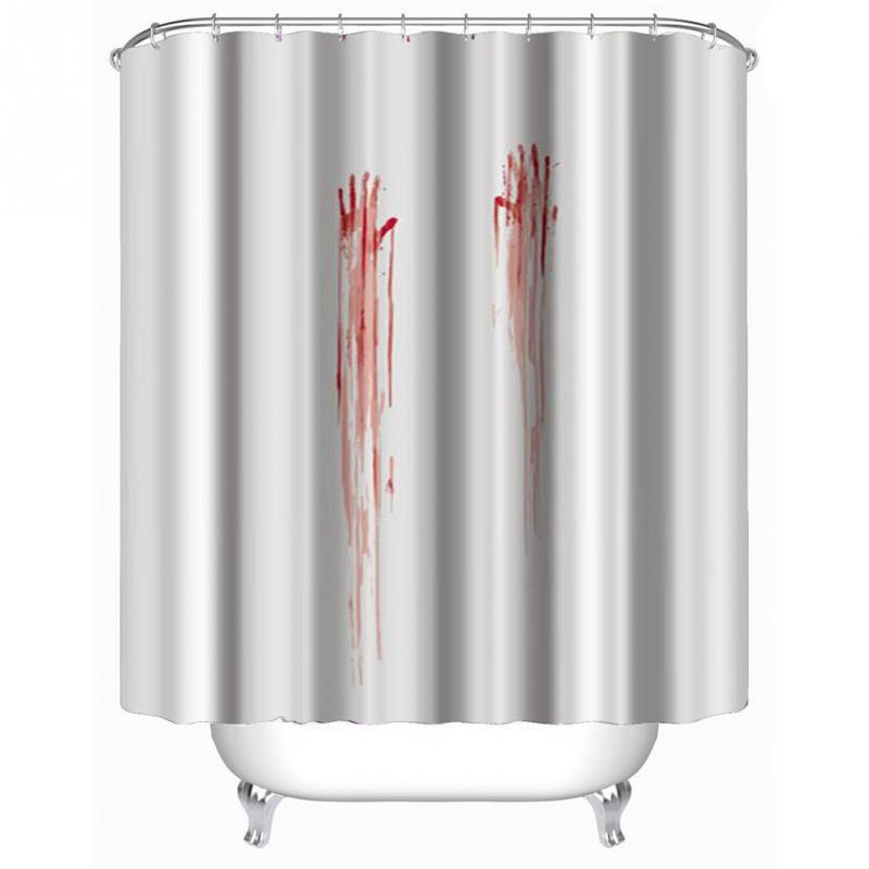 Blood Handprint Shower Curtain Stylish Family Bathroom Shower Curtain Ring Pull Easy To Install