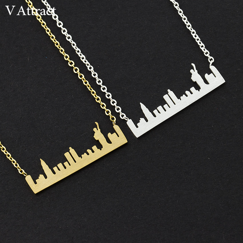 V Attract Statue of Liberty Bar Necklace Women Men Vintage Jewelry NYC Skyline Pendant Choker Necklaces Gold Silver Chain Colar