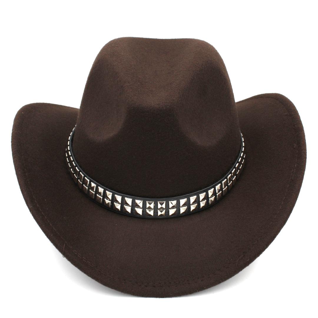 New Fashion Men Women Wool Blend Western Cowboy Cap Church Hat Wide Brim Sombrero Godfather Cap Leather Band with Paillette