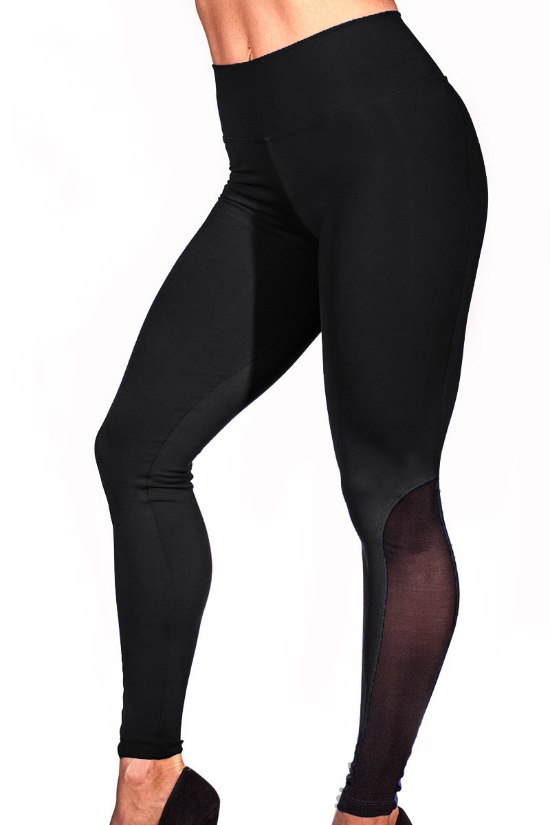 Gauze Nine Part Run Motion Bodybuilding Side Mesh Split Joint Self-cultivation Yoga Pants woman 3094 high quality leggings women black milk