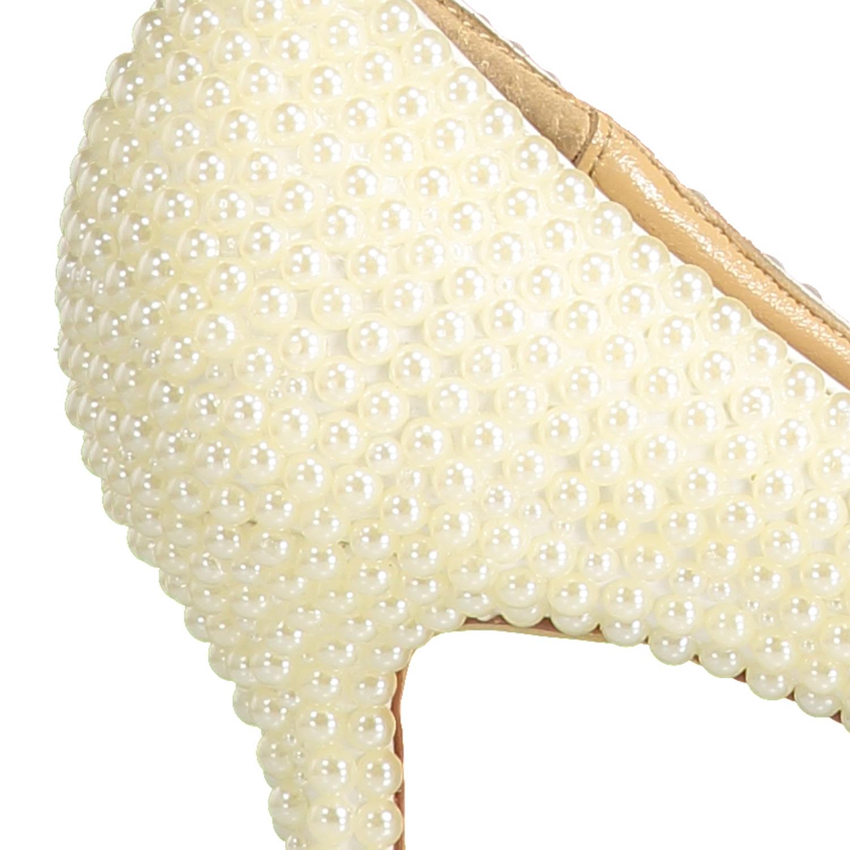 52460f859 Compre Pérolas Bege Sapatos De Noiva Personalizado Cor Personalizada ...