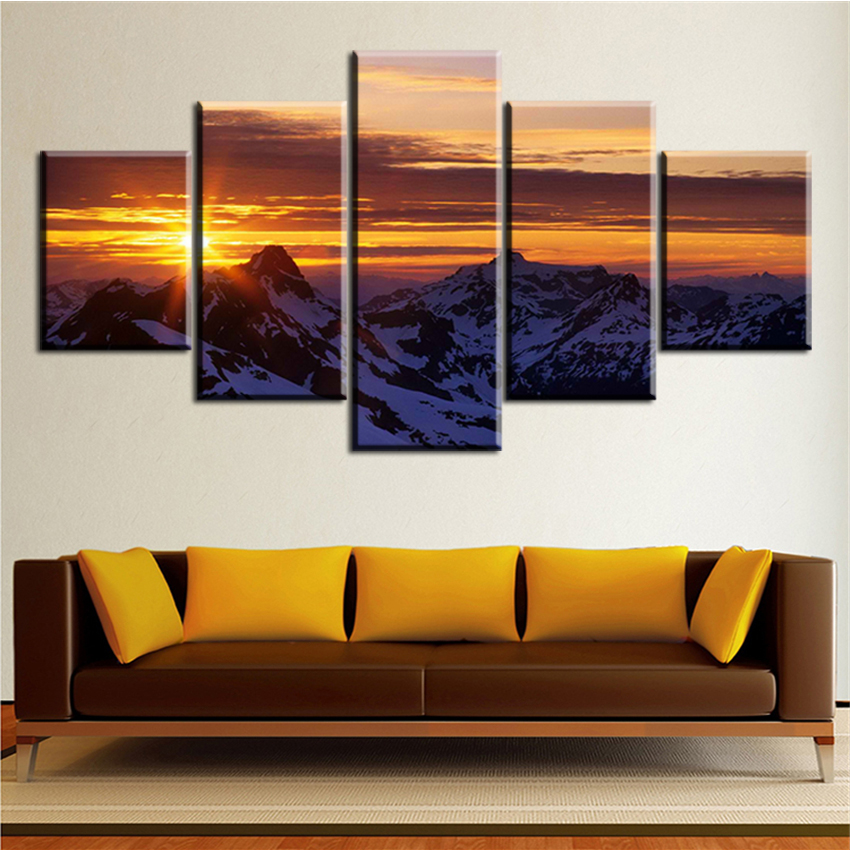 Poster Artwork Canvas Oil Painting Wall Popular For Living Room Magic-Mountain-Sunset Modular Picture HD Print Framework
