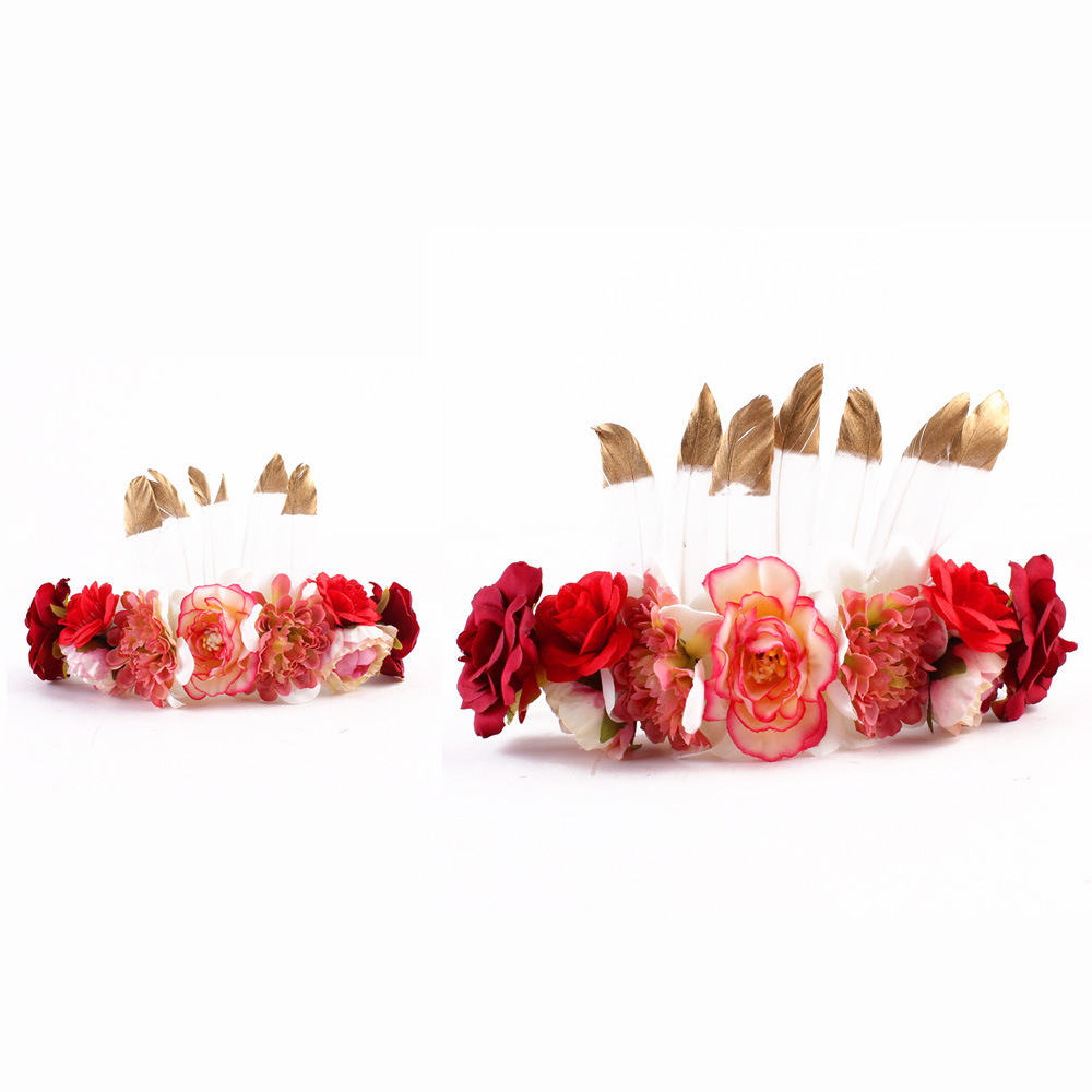 2 Unid / set Boho Corona Flor de Plumas Para Mamá Niños Cintas Para el Cabello Bebé Diademas Madre Niños A Juego Sombrero Accesorios