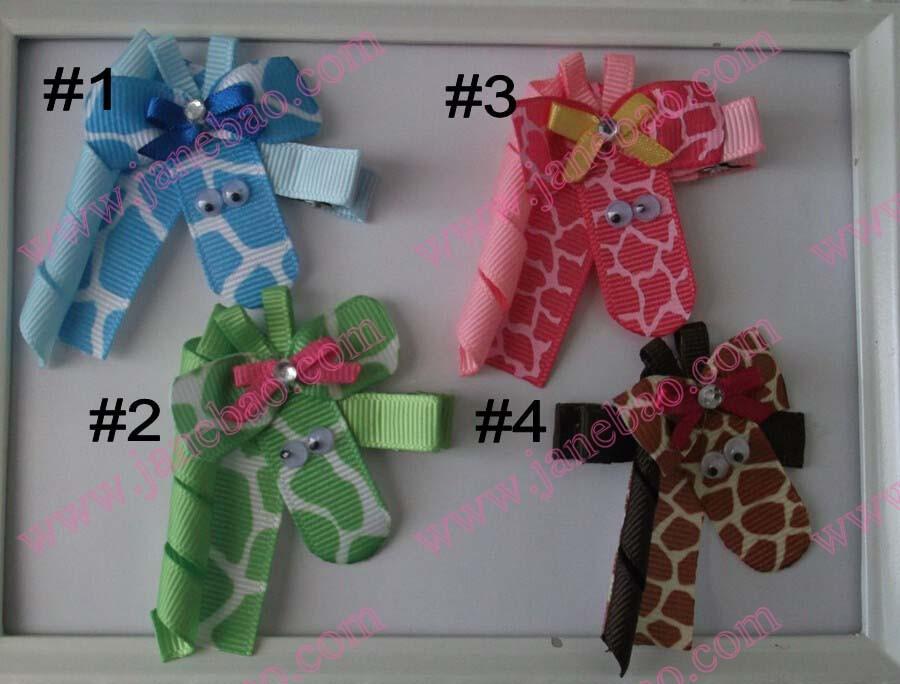 Giraffe Ribbon Sculpture Hair Cllip_conew1