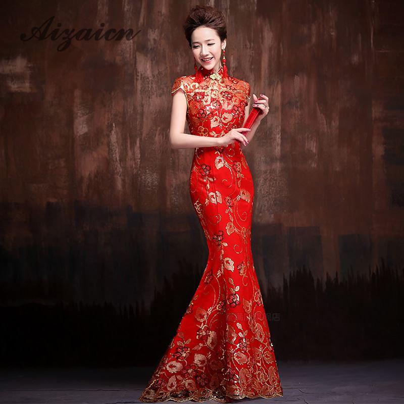 Vestiti Eleganti Cinesi.Lunghi Vestiti Da Cerimonia Nuziale Cinesi Rossi Online Lunghi
