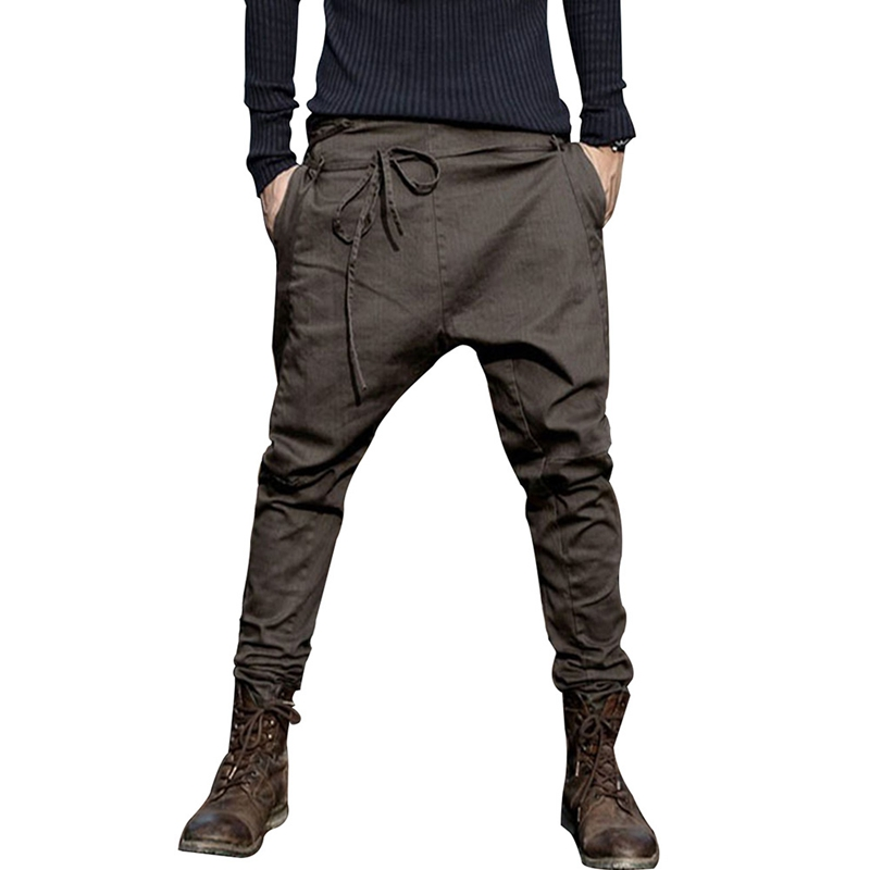 Sonms Casual Sagging Pants Men Trousers Crotch Pant Joggers Feet Pants Hanging Crotch