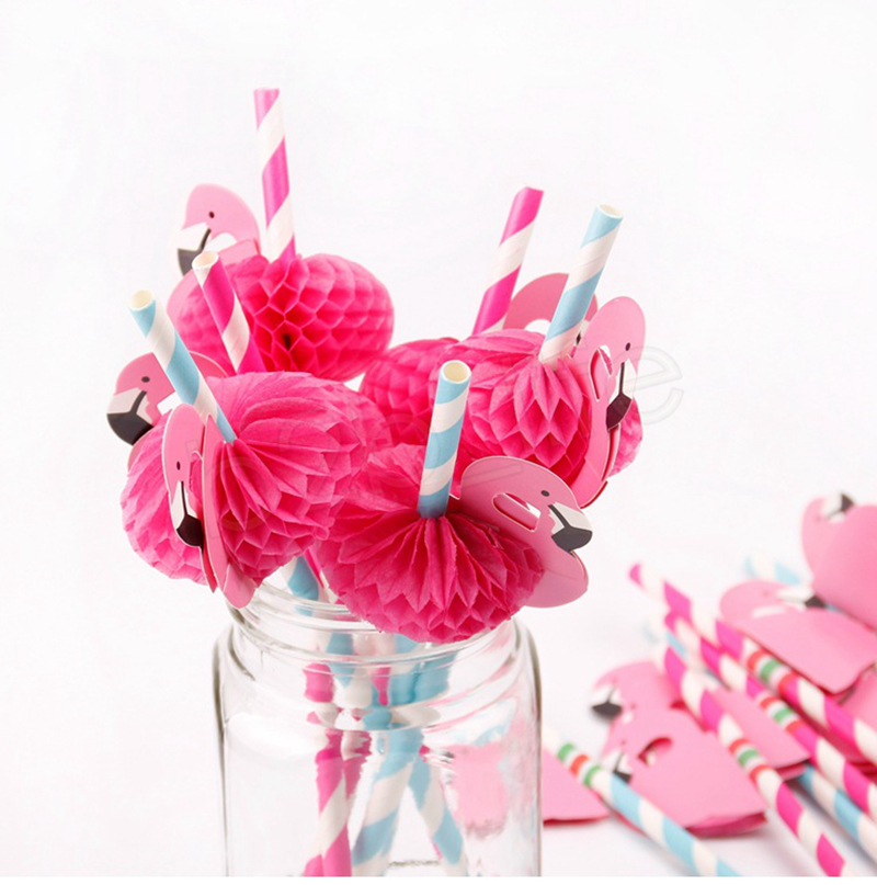 3D Flamingo Straw Bendy Flexible Plastic Cocktail Drinking Straws bar Kids Birthday Wedding Pool Party Decoration GGA1096