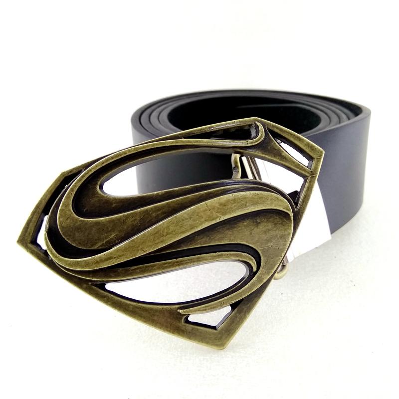 New Superman Western Black Superhero Cowboy Mens Metal belt buckle Leather Belt
