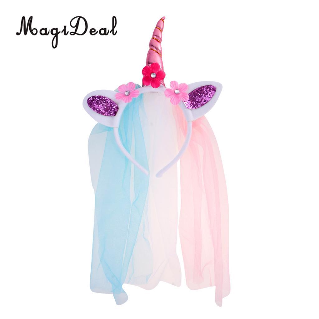 Novelty Unicorn Aluminum Foil Balloon Kids Birthday Party Decor 129 x 93cm Flower Veil Headband