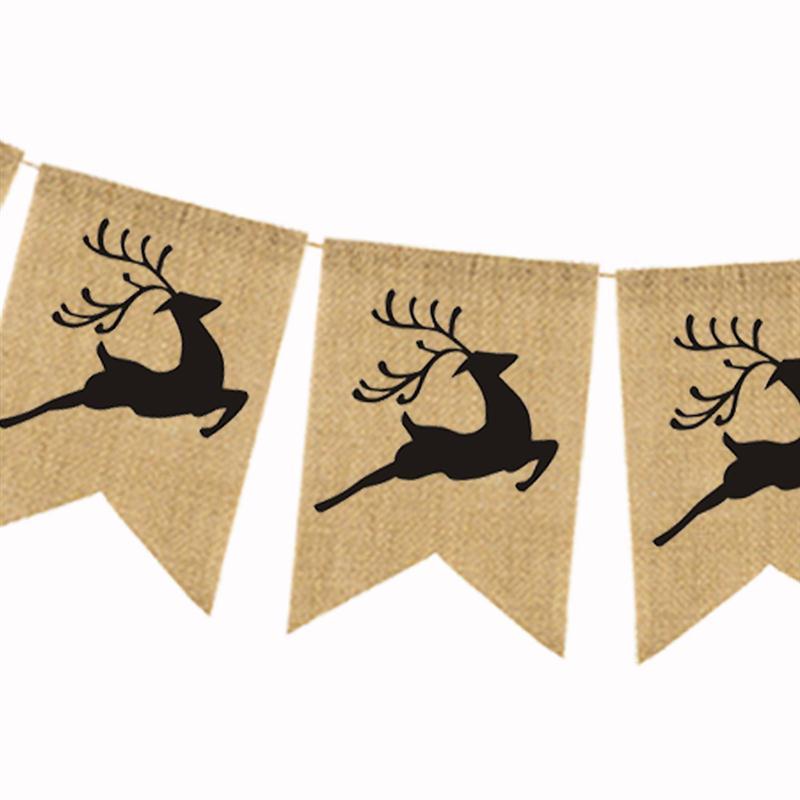 2.8 Meters Cute Christmas Sleigh Elk Deer Pattern Garland Bunting Banners Flag For Door Wall Hanging Decoration