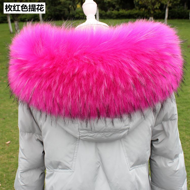 Lady Blinger super big fluffy faux fur collars women winter fake fur hood collar men jacket DIY big raccoon fur collar scaves Y18102010