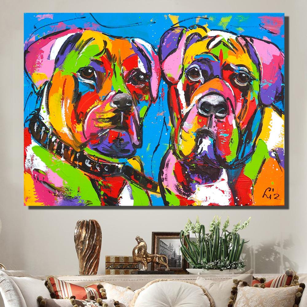 CaiHongPZZPanda Pintar por n/úmero Cuadro Abstracto Colorido Perro Lienzo Pintura Colorear por n/úmeros-40x50cm-Sin Marco