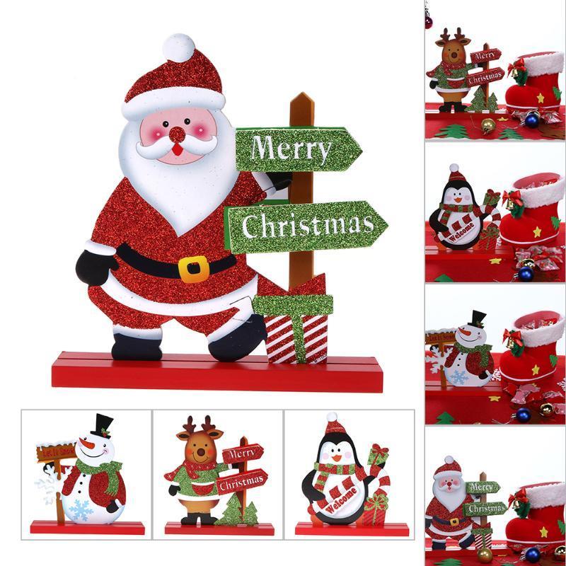 Elk Santa Snowman Living Room Table Desktop Ornament Wooden Craft Christmas Decoration for Home Christmas Gift Navidad Noel,T Y18102909