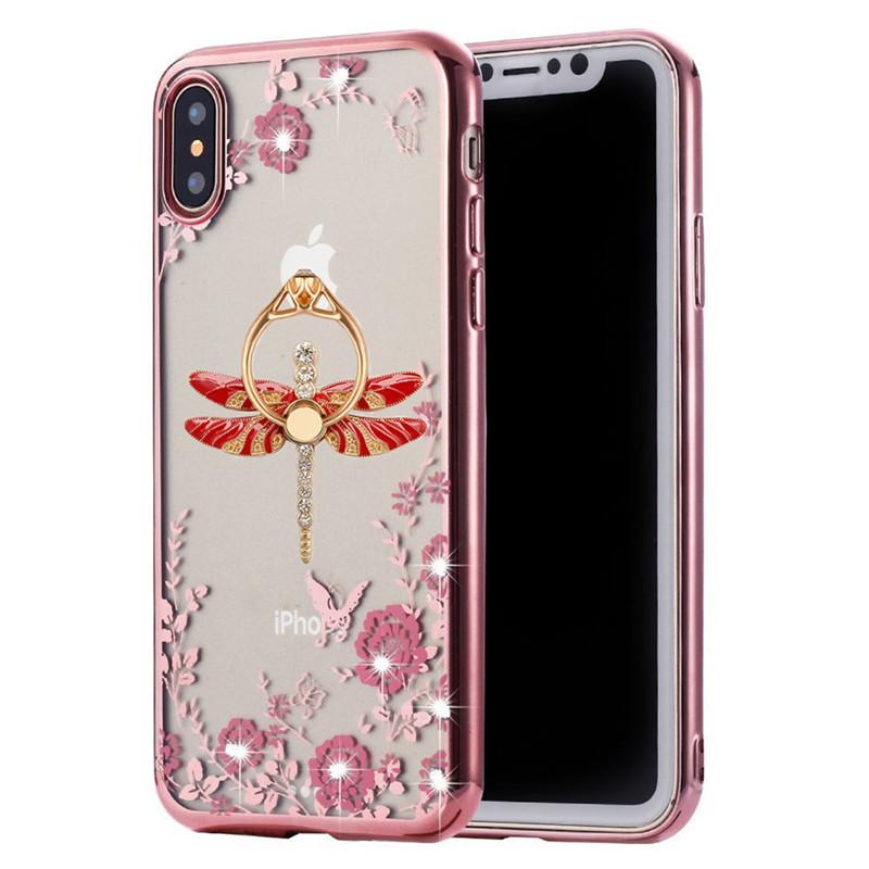 1Pcs Rotating Ring Stand Secret Graden Bling Diamond Rhinestone Plating Phone Case For iphone 5 5s SE 6 6s 7 8 Plus X XR Xs Max