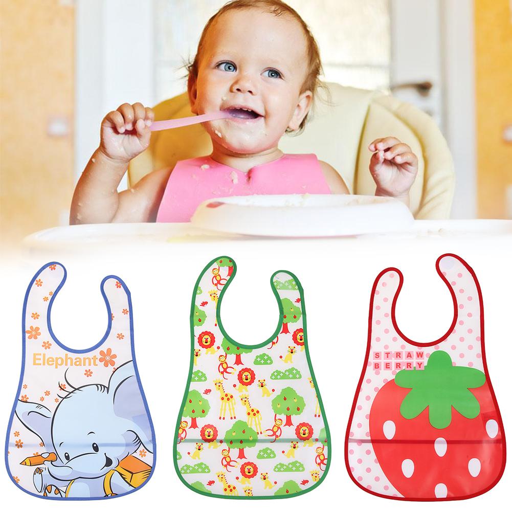 Mix Wholesale EVA Waterproof Lunch Bibs Newborn Baby Cute Cartoon Feeding Cloth Towels Children Apron Accessories
