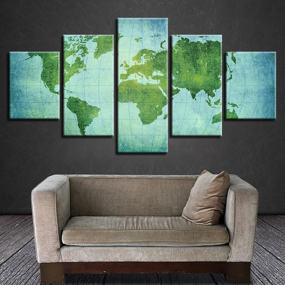 Leinwand Wandkunst Poster Wohnzimmer Wohnkultur 5 Stücke Vintage Weltkarte Malerei HD Druckt Büro Modularen Bilder Rahmen