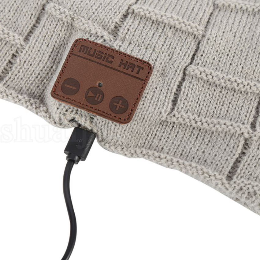 Wireless Bluetooth Thick Knit Beanie Headphone Earphone Microphone Winter Trendy Cap Smart Outdoor Hats OOA5689