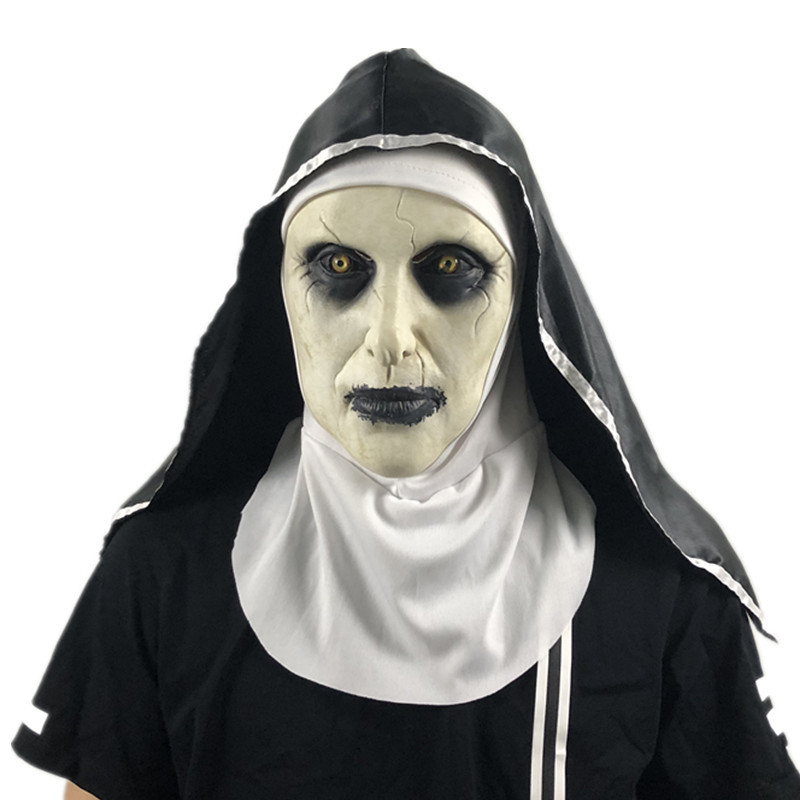 Scary Mask The Nun Horror Masks Cosplay Valak Mask with Headscarf Horror Costume Full Face Helmet Halloween Party Prop SD07