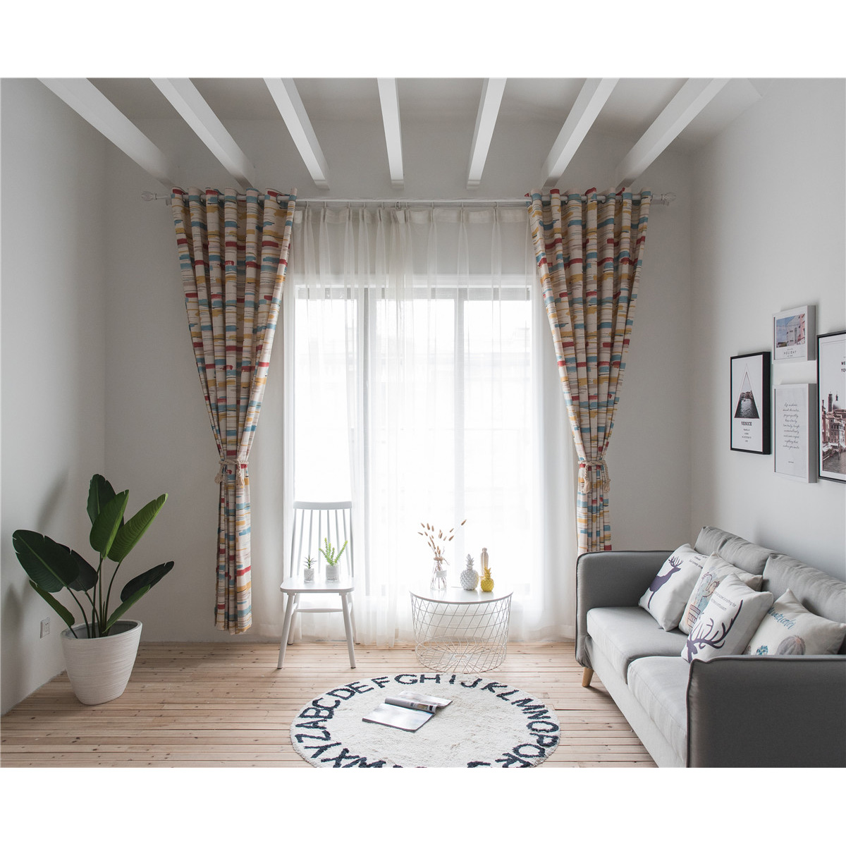 100x280CM Cotton and Linen Flower Embroidery Simple Screen Window Curtain Blackout Noise-Free Shading Curtains