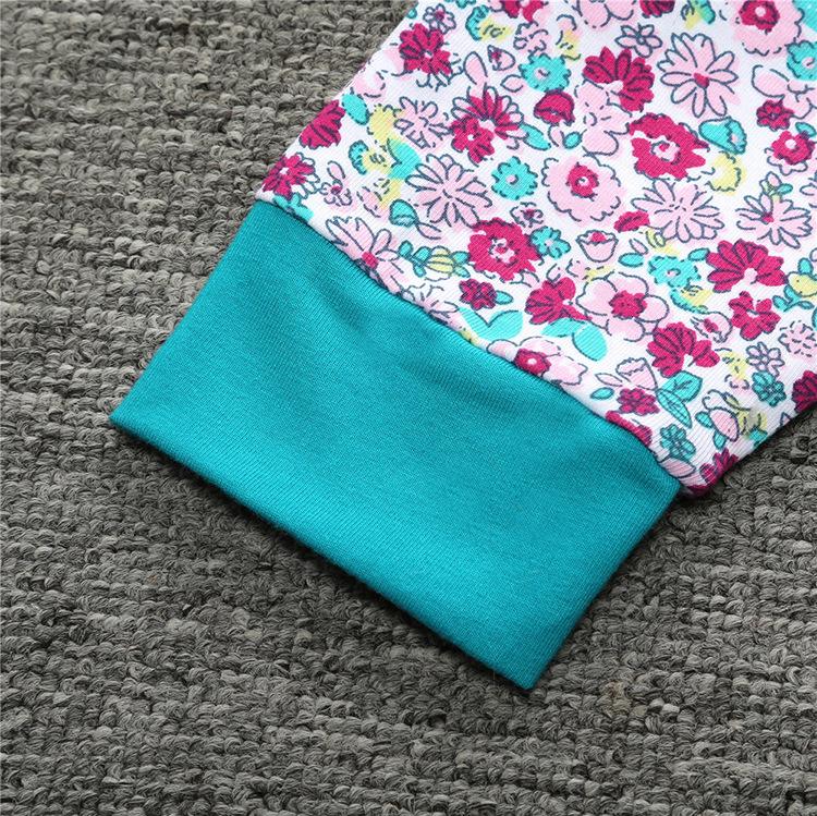 2018 nuevo llegado Floral Baby Girls Clothes camiseta verde Abrigo de manga larga Tops + Floral Pantalones Ropa conjunto de traje de sombrero