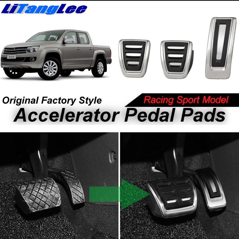 LitangLee Car Accelerator Pedal Pad Cover Sport Racing Design Foot Throttle Pedal Cover For Volkswagen VW Amarok 2010~2018 MT (9)