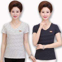 new-fashion-middle-aged-mother-clothing-summer-T-shirt-female-Office-Lady-striped-short-sleeve-v.jpg_200x200