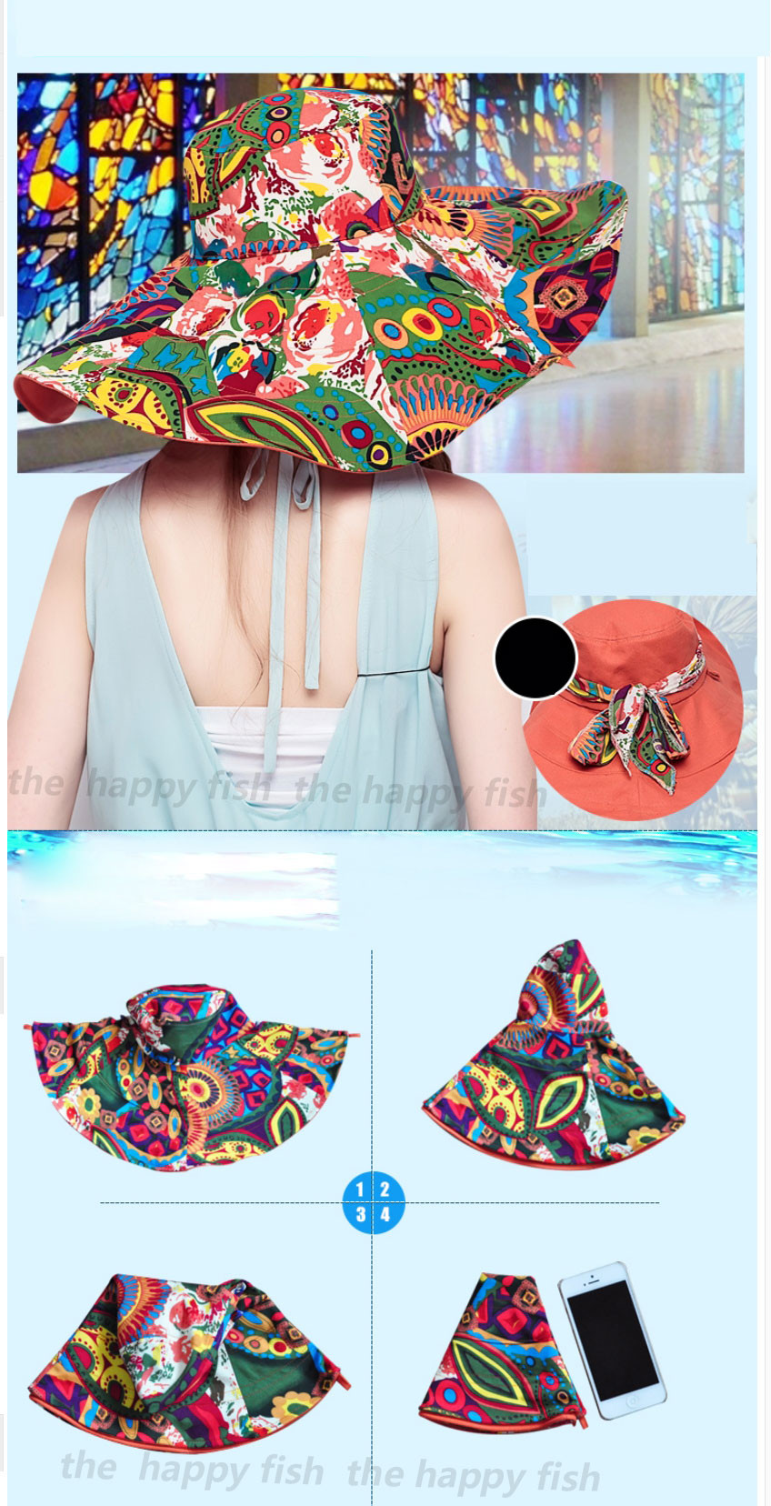 Bohemian Style! Hats Sun Hats For Women Summer Hat For Women Large Sun Hat Beach Hat chapeu femme feminino Flower printed (6)