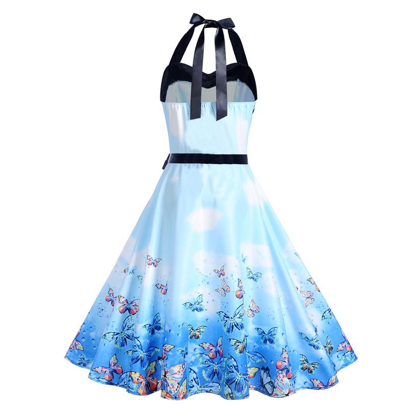 2019 Summer Women Rockabilly Dress Slim Halter Vintage Dress Blue Purple Floral Elegant Tunic Party Dresses Sundress Plus Size