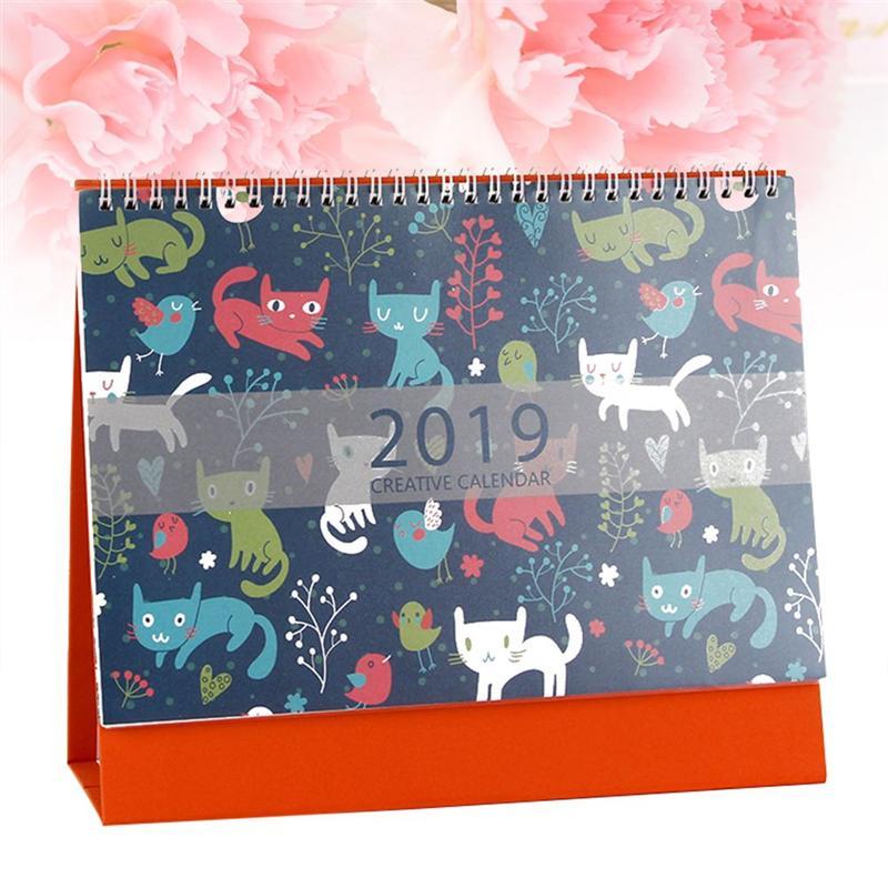 2019 Desk Calendars Creative Useful Cartoon Cute Cats Lovely Krafted Annual Calendar Schedule Planner Use Home Office