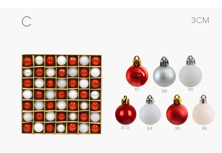 06 inhoo 49pcs Christmas Tree Ornaments Polystyrene Plastic 3cm Decor Balls Baubles Xmas Party Hanging Ball for Home Gifts 2019