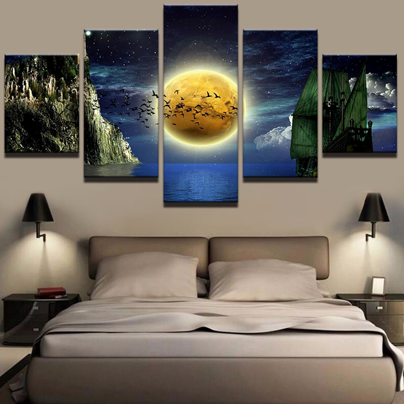 Art Wall Frame Scenery Picture For Living Room 5 Panel Beautiful Planet Landscape Home Decoration Canvas Prints Painting Abstract