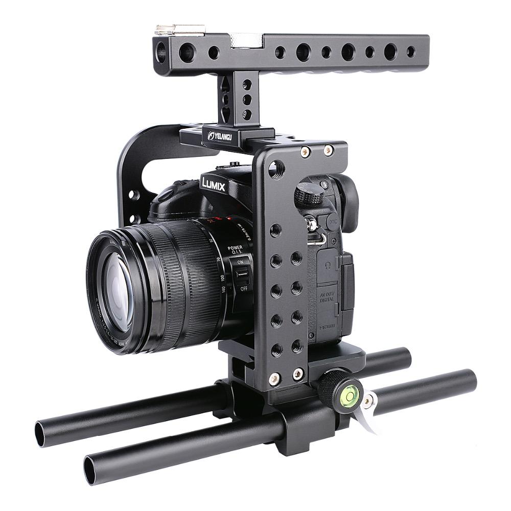 Kit De Jaula De Vídeo Cámara De Aluminio Con Manija Superior Grip para Canon 5D2-Azul