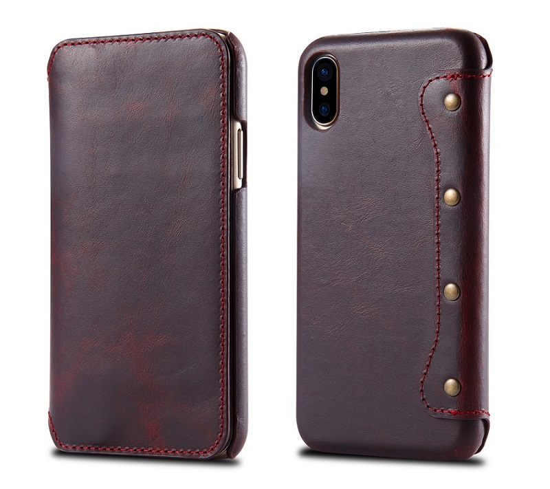 Wine red phone cover case for iPhone x 5.8\'\' luxury card flip cases