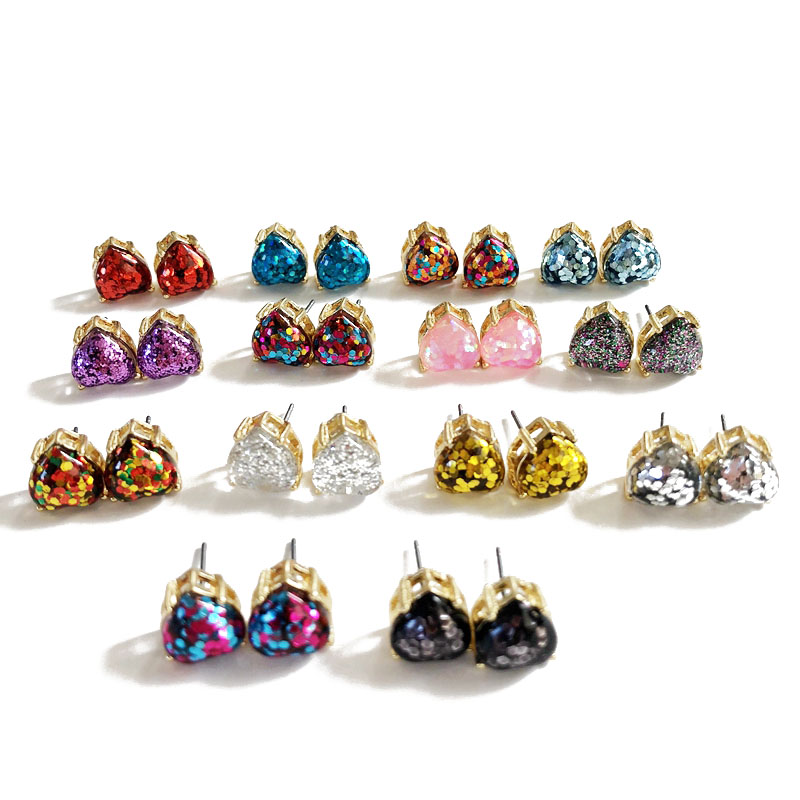 Free Shipping New Sweet Cute Glitter Mixed Color Heart Shaped Stud Earring, Fashion Party Wedding Elegant Earring