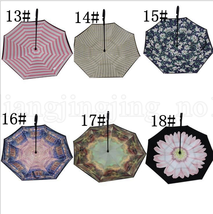Reverse Umbrella Windproof Inverted Umbrella For Car Double Layer Hands Free Inverted Umbrella C-Hand Inverted Umbrellas KKA6032