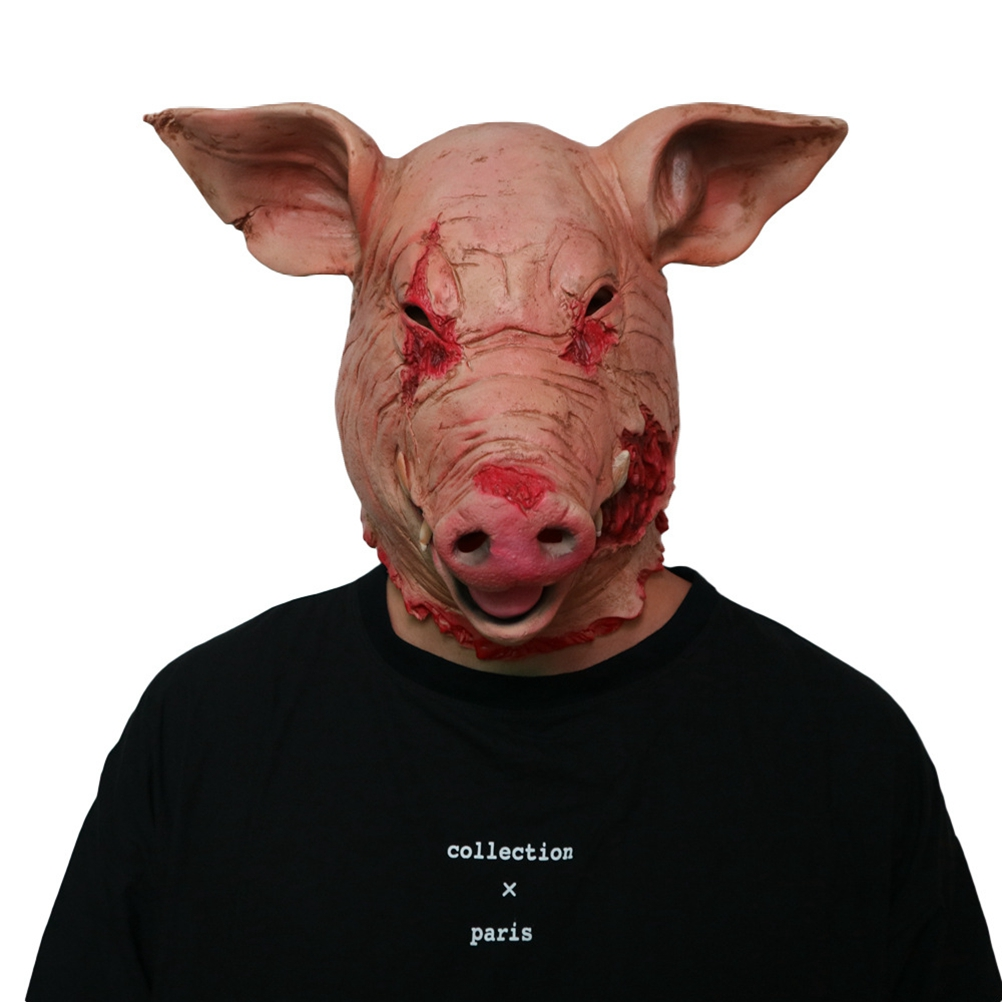Party Mask Lightweight Durable Pig Head Mask Terror Latex Creepy Props Party Accessory Masks for Halloween Horror Theme Party