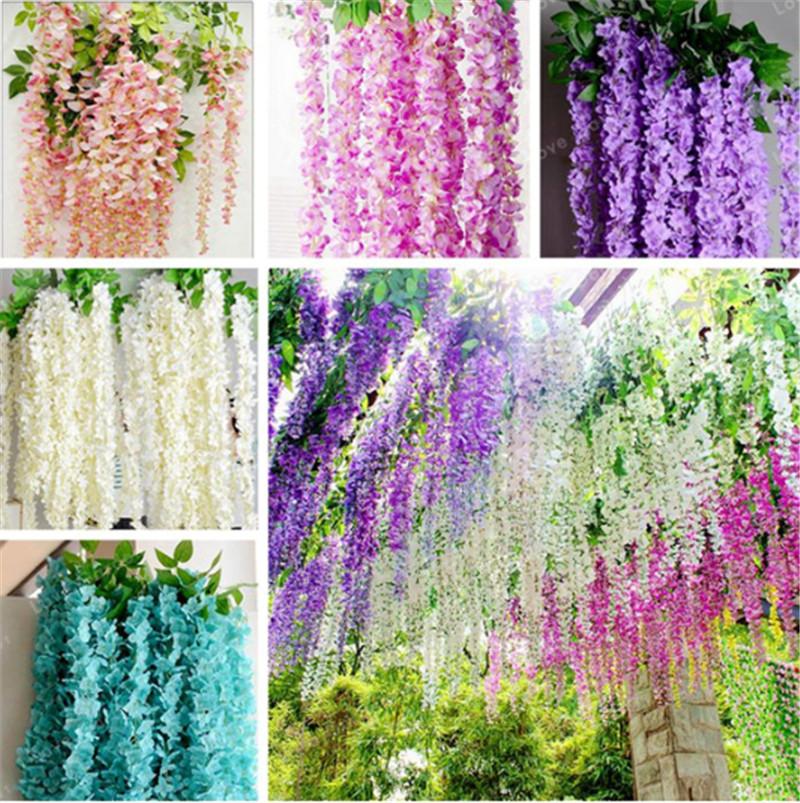 2018 Neu Hängende Wand Künstliche gefälschtes Violet Orchidee Blume Rattan Mode