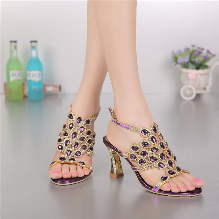 Korean Style Diamond Crystal Luxury Sandals High Heels Roman Womens Purple Evening Shoes Plus Size 11 Fashion 2016 Summer2