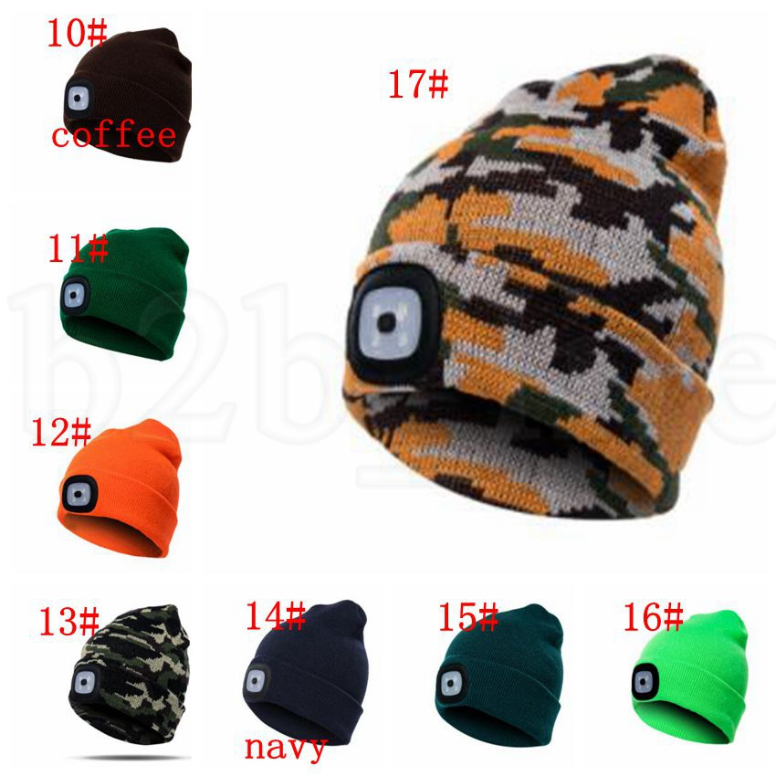 4 LED Light Hat Battery Type Winter Beanies Fishing Camping Cap Knitted Hat adult Camping Outdoor Crochet Party Hat KKA5984