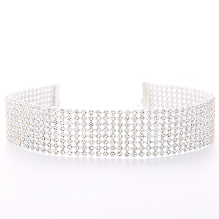 collier large strass femme