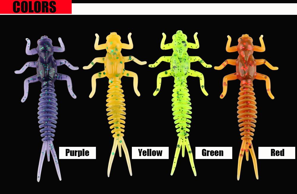 RoseWood Larva Soft Lure 1.4g 6cm Swimbait Worm Fishing Bait Isca Artificial Lifelike Dragonfly Jigging Fishing Tackle China (5)
